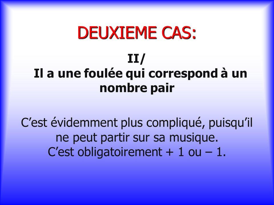 DEUXIEME CAS: II/ Il a une foulée qui correspond à un nombre pair