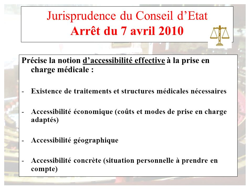 Jurisprudence du Conseil d'Etat Arrêt du 7 avril 2010