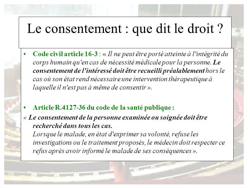 Le consentement : que dit le droit