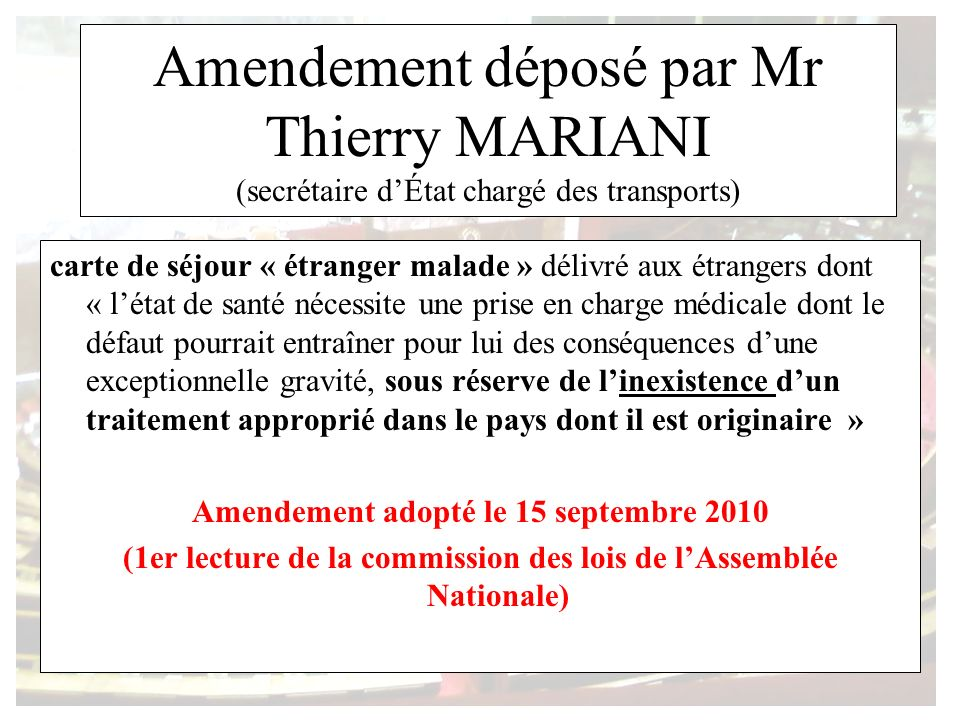 Amendement déposé par Mr Thierry MARIANI (secrétaire d'État chargé des transports)