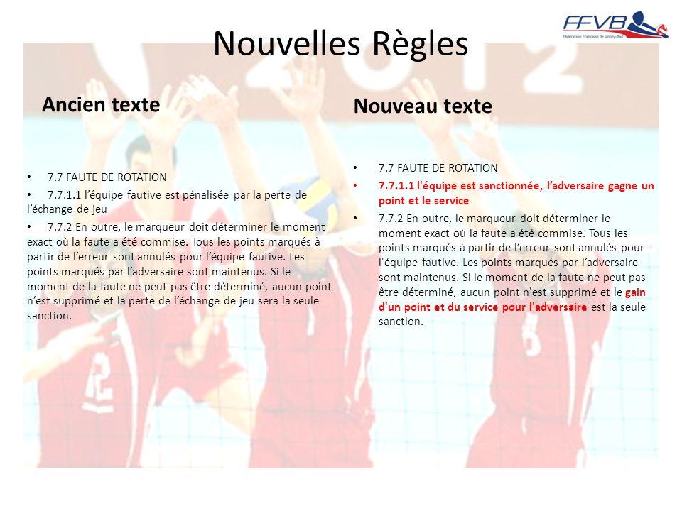 Nouvelles Règles Ancien texte Nouveau texte 7.7 FAUTE DE ROTATION