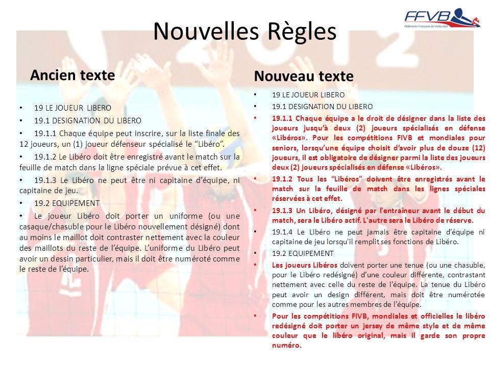 Nouvelles Règles Ancien texte Nouveau texte 19 LE JOUEUR LIBERO