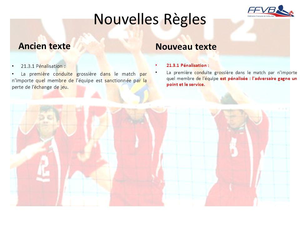 Nouvelles Règles Ancien texte Nouveau texte 21.3.1 Pénalisation :