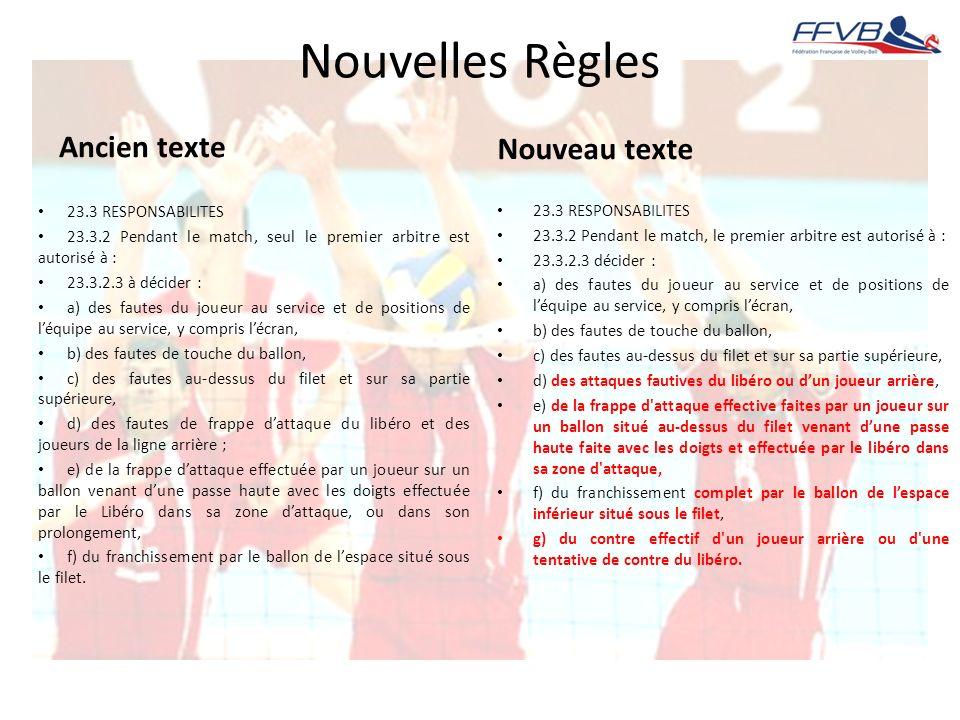 Nouvelles Règles Ancien texte Nouveau texte 23.3 RESPONSABILITES