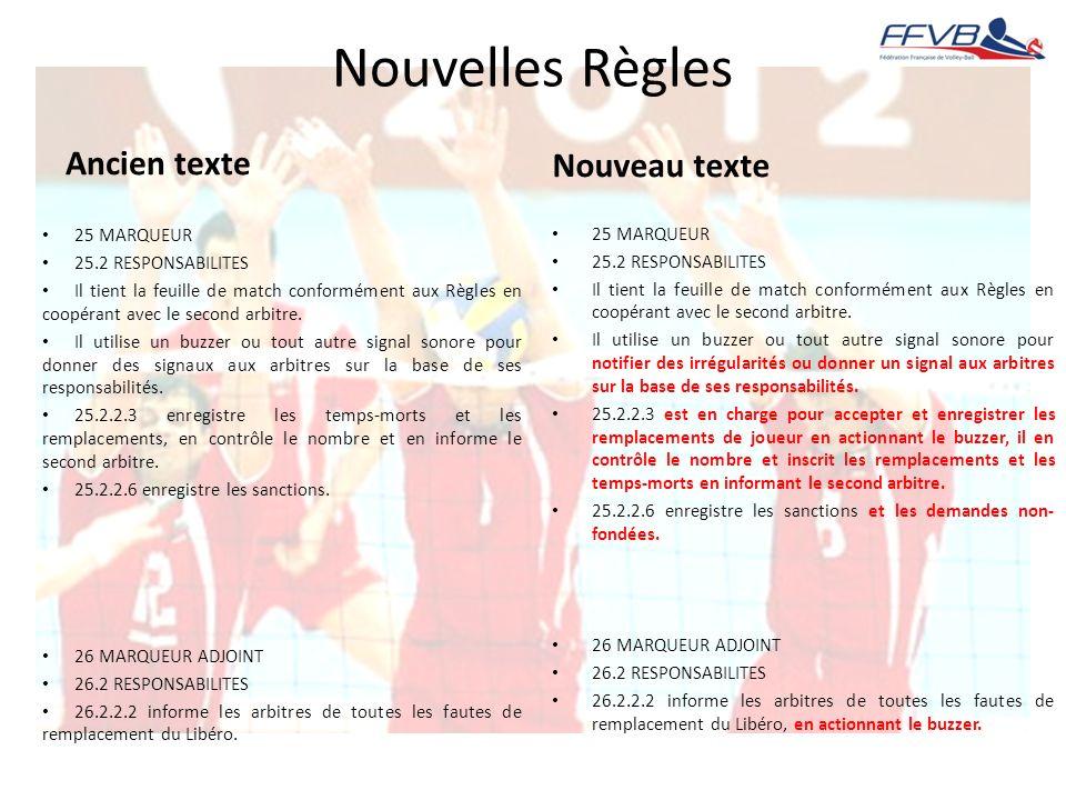 Nouvelles Règles Ancien texte Nouveau texte 25 MARQUEUR 25 MARQUEUR
