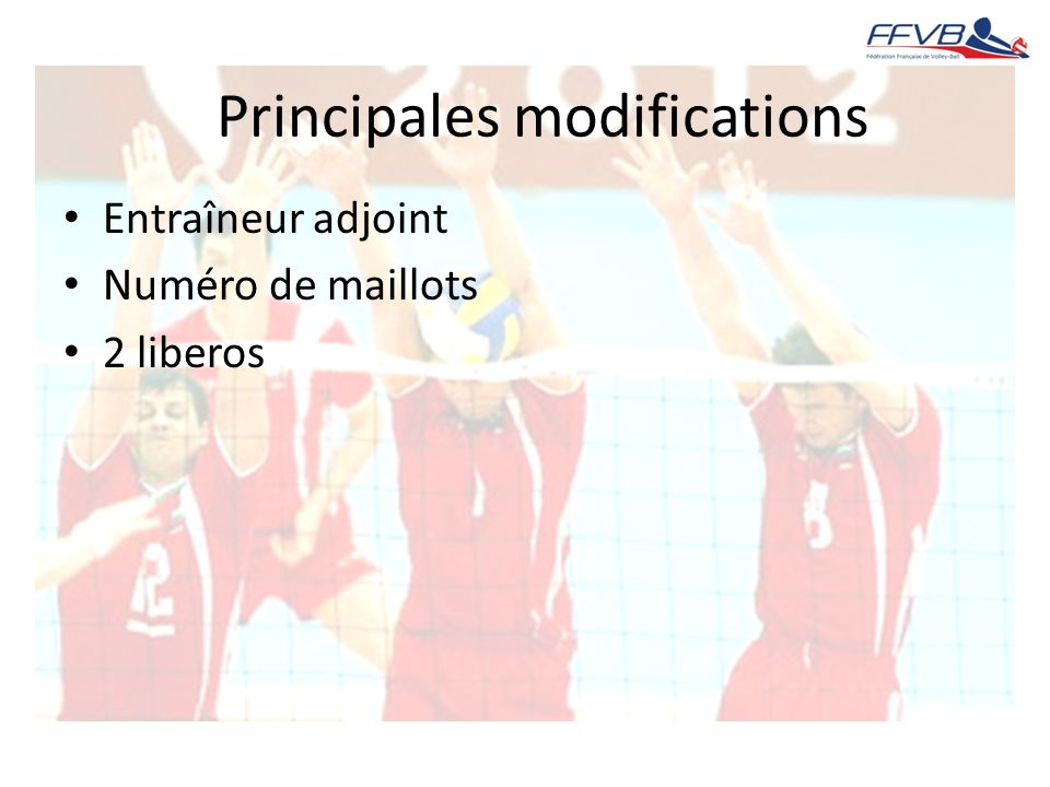 Principales modifications