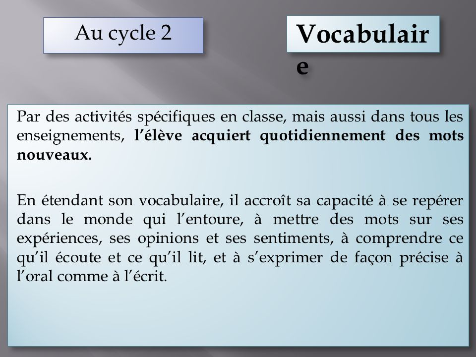 Au cycle 2 Vocabulaire.
