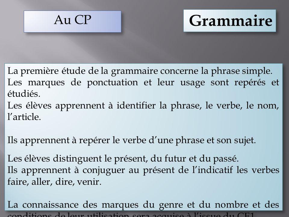 Au CP Grammaire. La première étude de la grammaire concerne la phrase simple. Les marques de ponctuation et leur usage sont repérés et étudiés.