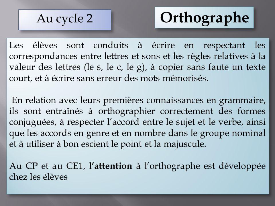 Orthographe Au cycle 2.