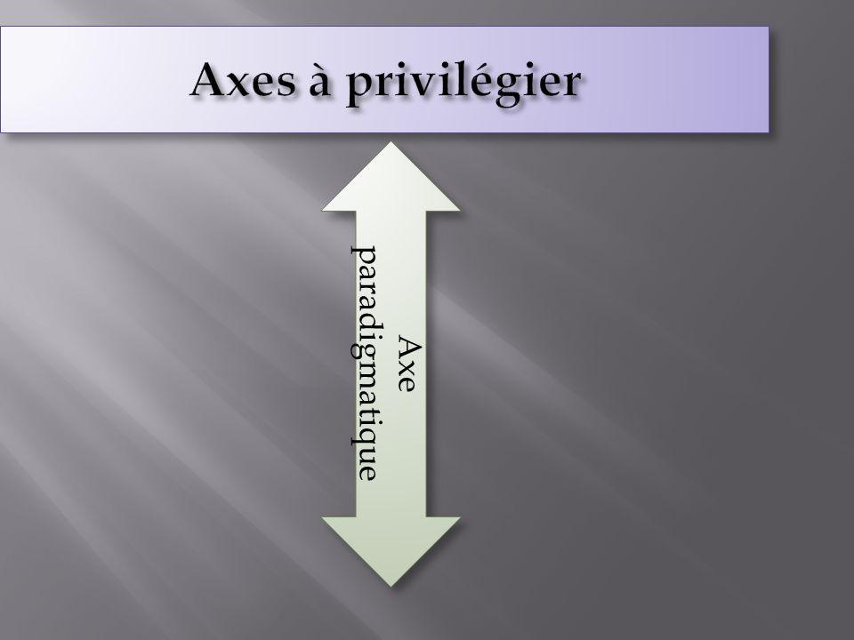 Axes à privilégier paradigmatique Axe 19