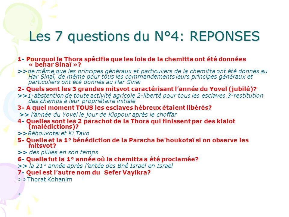 Les 7 questions du N°4: REPONSES