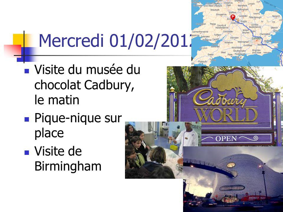 Mercredi 01/02/2012 Visite du musée du chocolat Cadbury, le matin