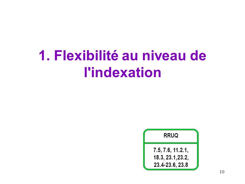 1. Flexibilité au niveau de l indexation
