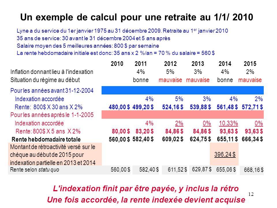 Un exemple de calcul pour une retraite au 1/1/ 2010