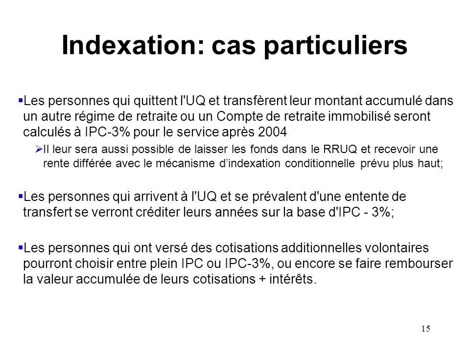 Indexation: cas particuliers