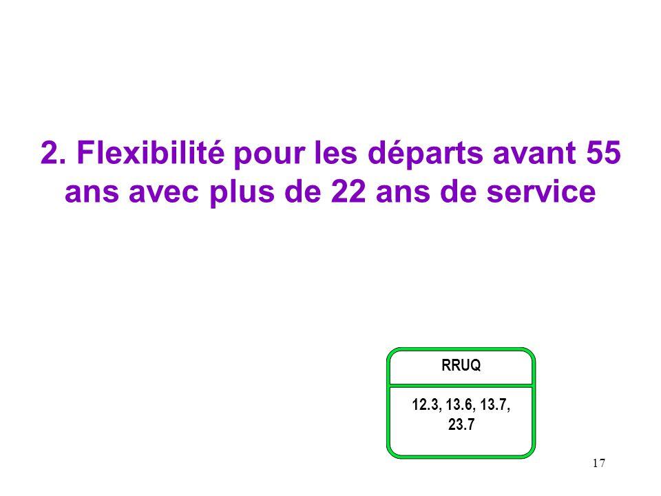 2. Flexibilité pour les départs avant 55 ans avec plus de 22 ans de service