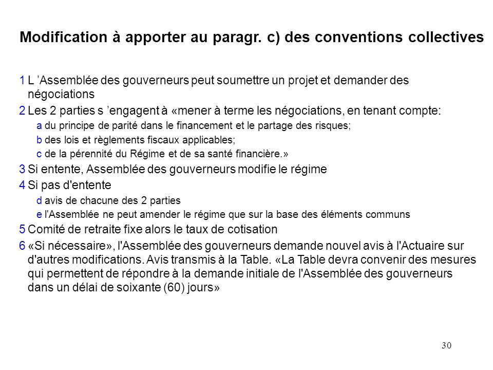 Modification à apporter au paragr. c) des conventions collectives