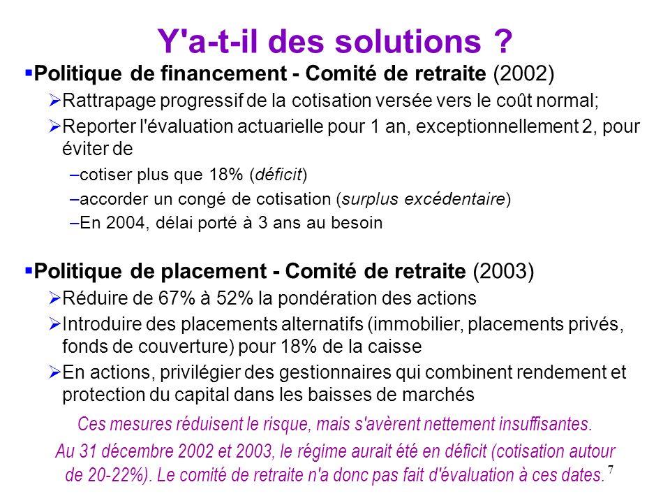 Y a-t-il des solutions Politique de financement - Comité de retraite (2002) Rattrapage progressif de la cotisation versée vers le coût normal;