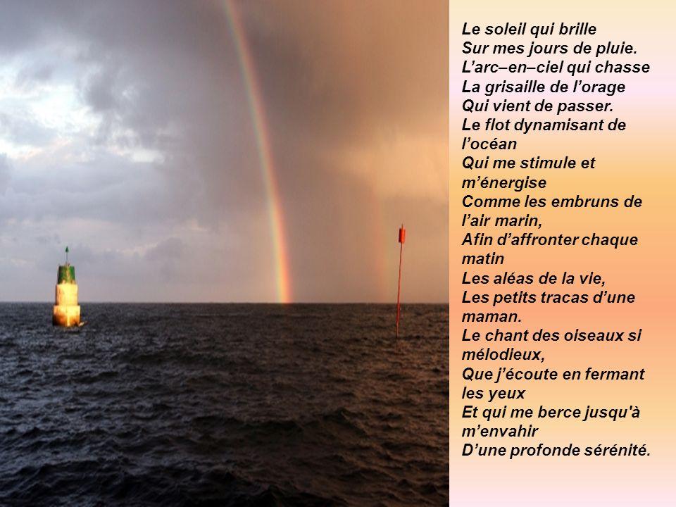 Le soleil qui brille Sur mes jours de pluie. L'arc–en–ciel qui chasse. La grisaille de l'orage. Qui vient de passer.