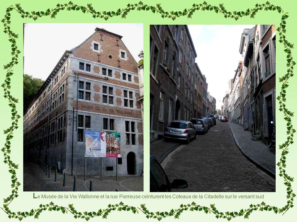 Le Musée de la Vie Wallonne et la rue Pierreuse ceinturent les Coteaux de la Citadelle sur le versant sud