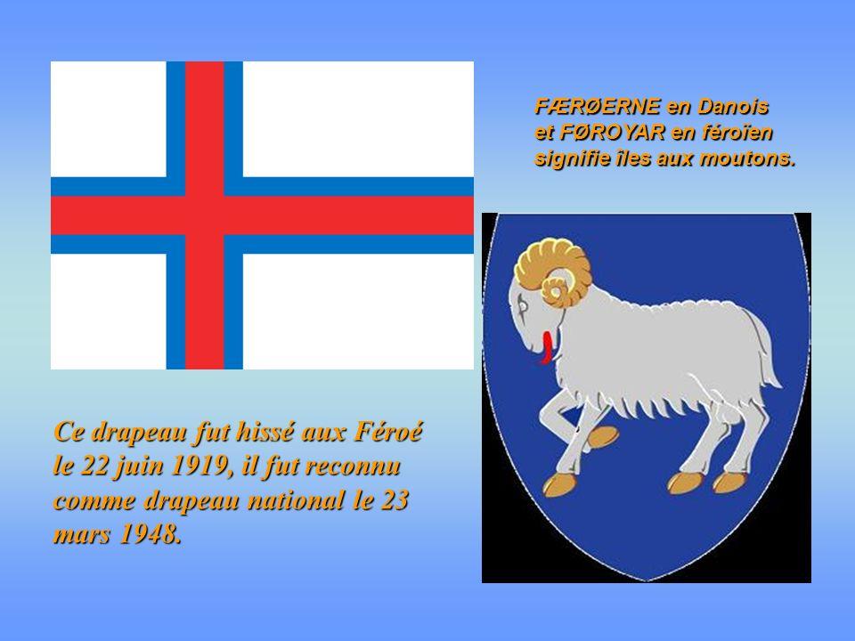FÆRØERNE en Danois et FØROYAR en féroïen signifie îles aux moutons.