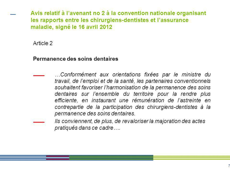 Avis relatif à l'avenant no 2 à la convention nationale organisant les rapports entre les chirurgiens-dentistes et l'assurance maladie, signé le 16 avril 2012