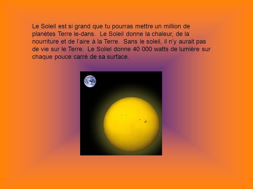 Le Soleil est si grand que tu pourras mettre un million de planètes Terre le-dans.