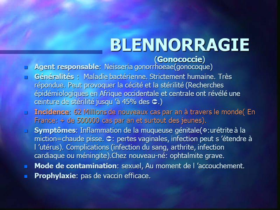 BLENNORRAGIE (Gonococcie)