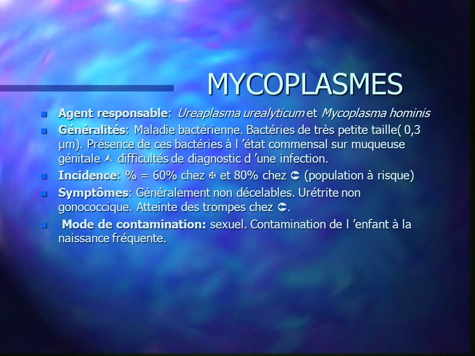 30/03/2017 MYCOPLASMES. Agent responsable: Ureaplasma urealyticum et Mycoplasma hominis.
