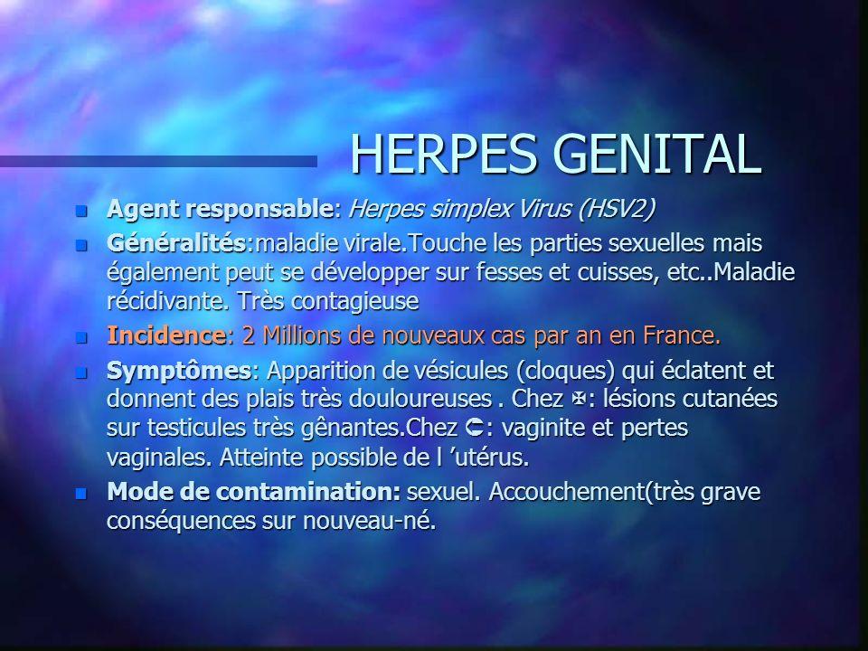 HERPES GENITAL Agent responsable: Herpes simplex Virus (HSV2)