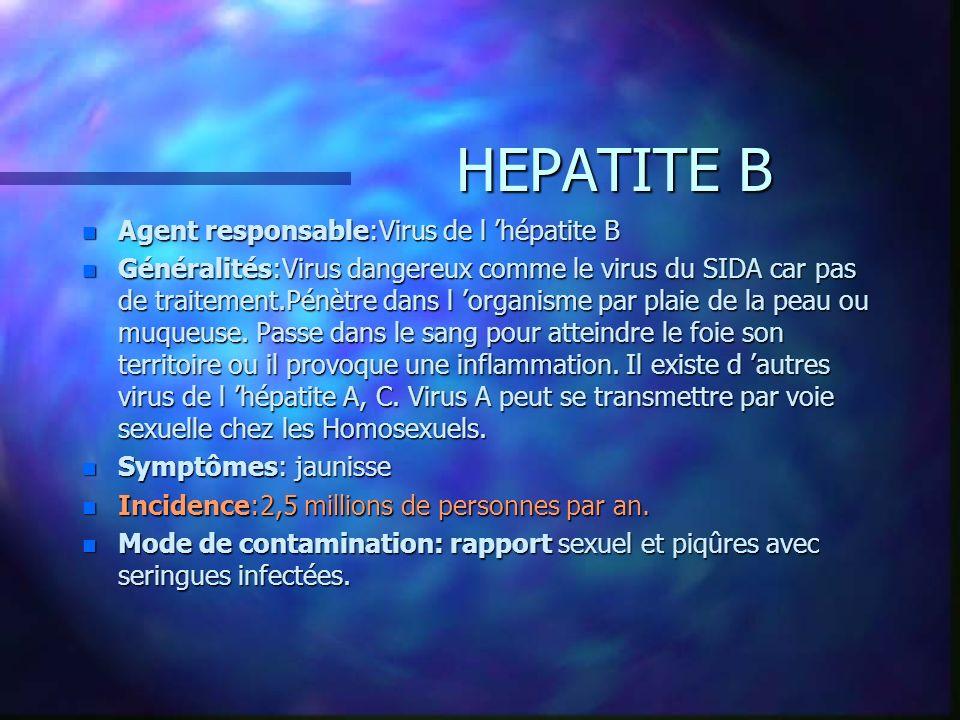 HEPATITE B Agent responsable:Virus de l 'hépatite B