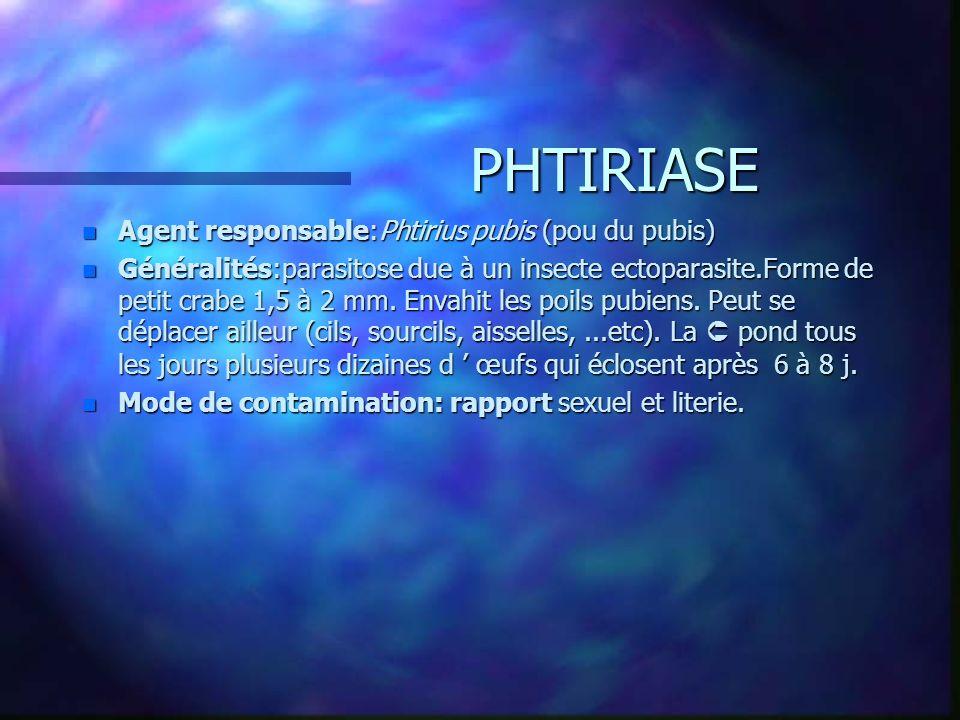 PHTIRIASE Agent responsable:Phtirius pubis (pou du pubis)