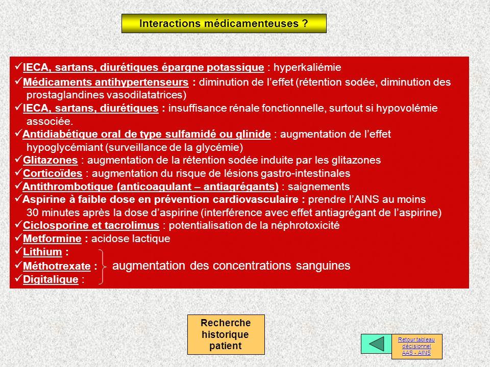 Interactions médicamenteuses Recherche historique patient
