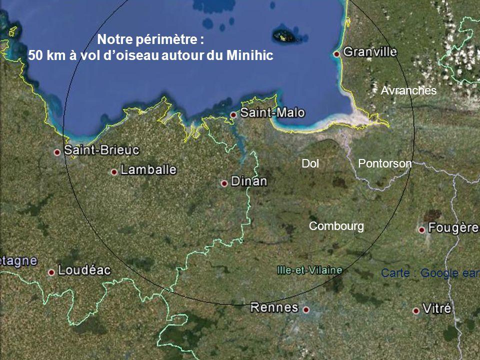 50 km à vol d'oiseau autour du Minihic