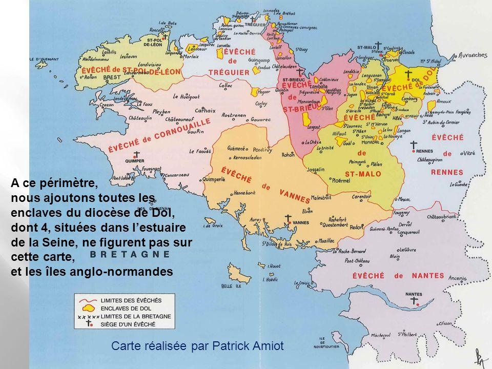 A ce périmètre, nous ajoutons toutes les enclaves du diocèse de Dol, dont 4, situées dans l'estuaire de la Seine, ne figurent pas sur cette carte,