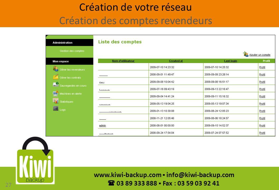 Création de votre réseau Création des comptes revendeurs