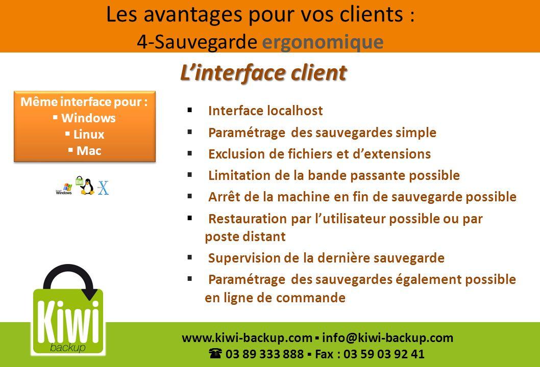 Les avantages pour vos clients : 4-Sauvegarde ergonomique
