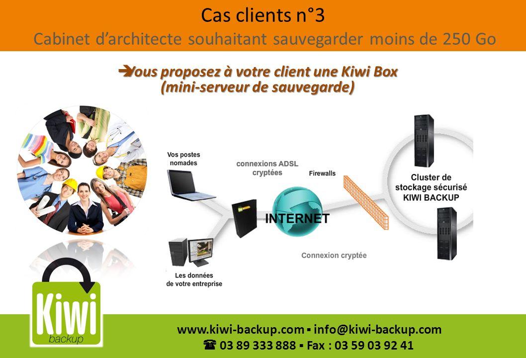 Vous proposez à votre client une Kiwi Box (mini-serveur de sauvegarde)