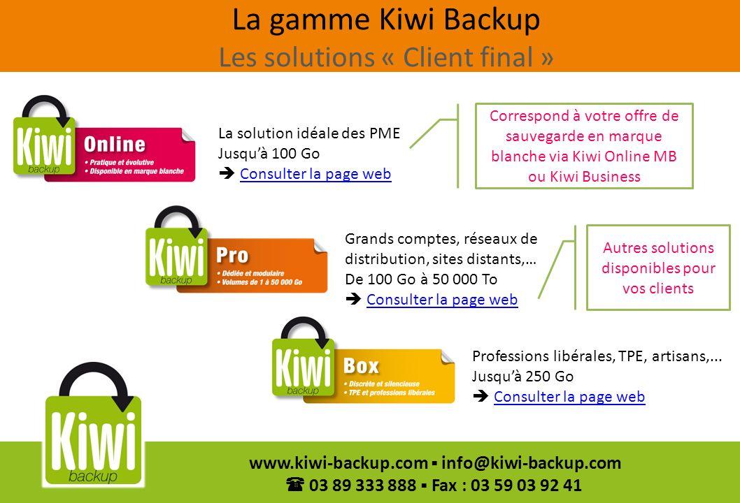La gamme Kiwi Backup Les solutions « Client final »