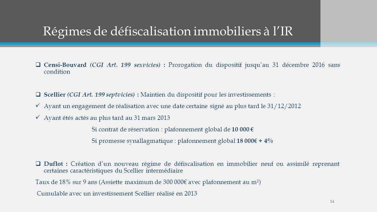 Régimes de défiscalisation immobiliers à l'IR