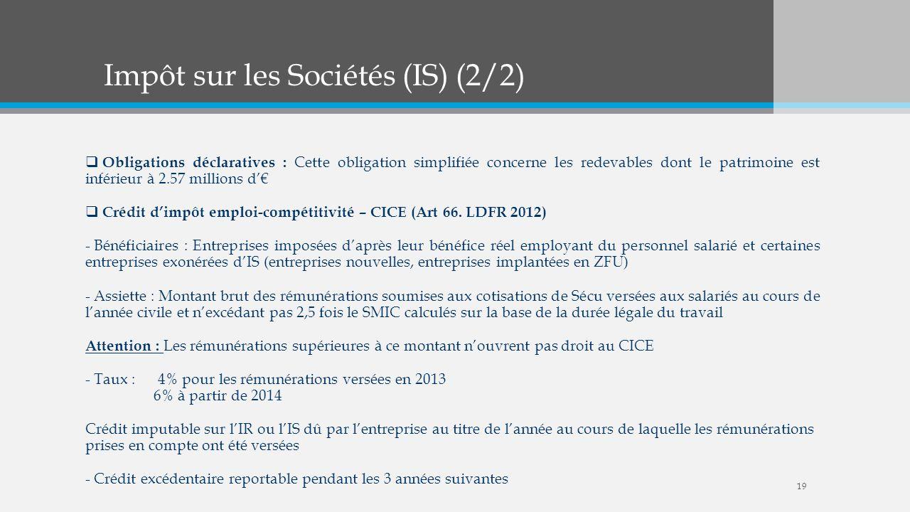 Impôt sur les Sociétés (IS) (2/2)