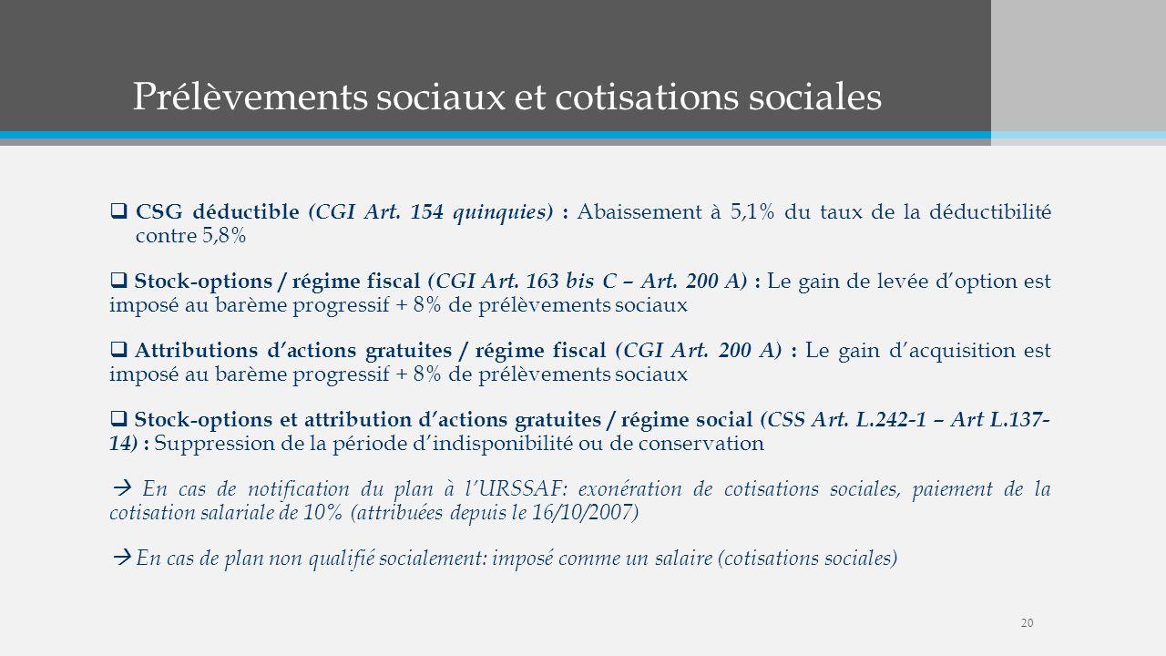 Prélèvements sociaux et cotisations sociales