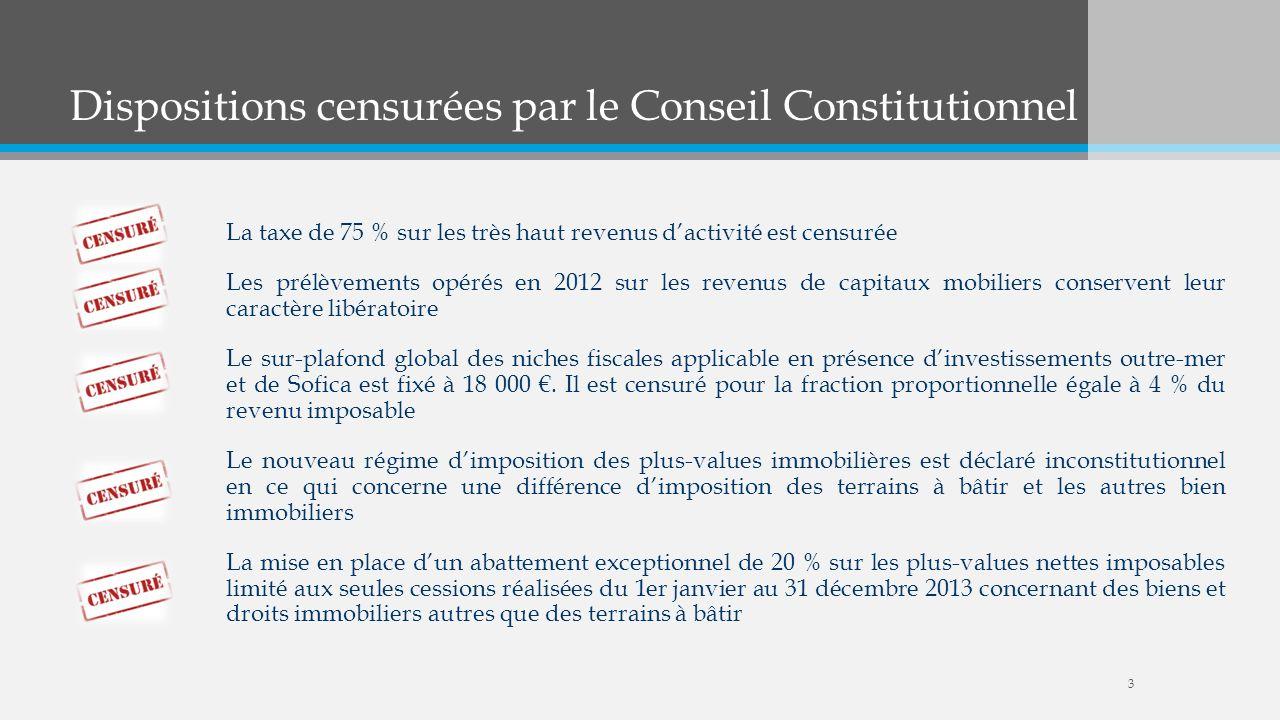 Dispositions censurées par le Conseil Constitutionnel