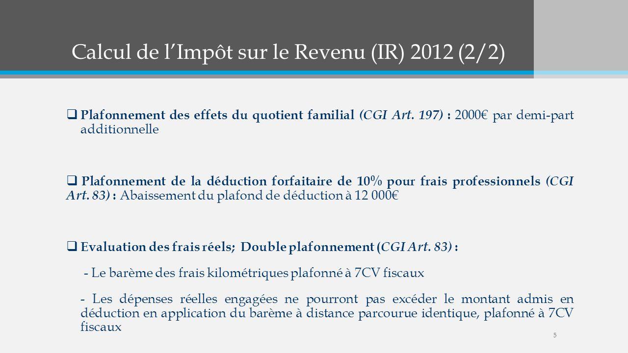 Calcul de l'Impôt sur le Revenu (IR) 2012 (2/2)