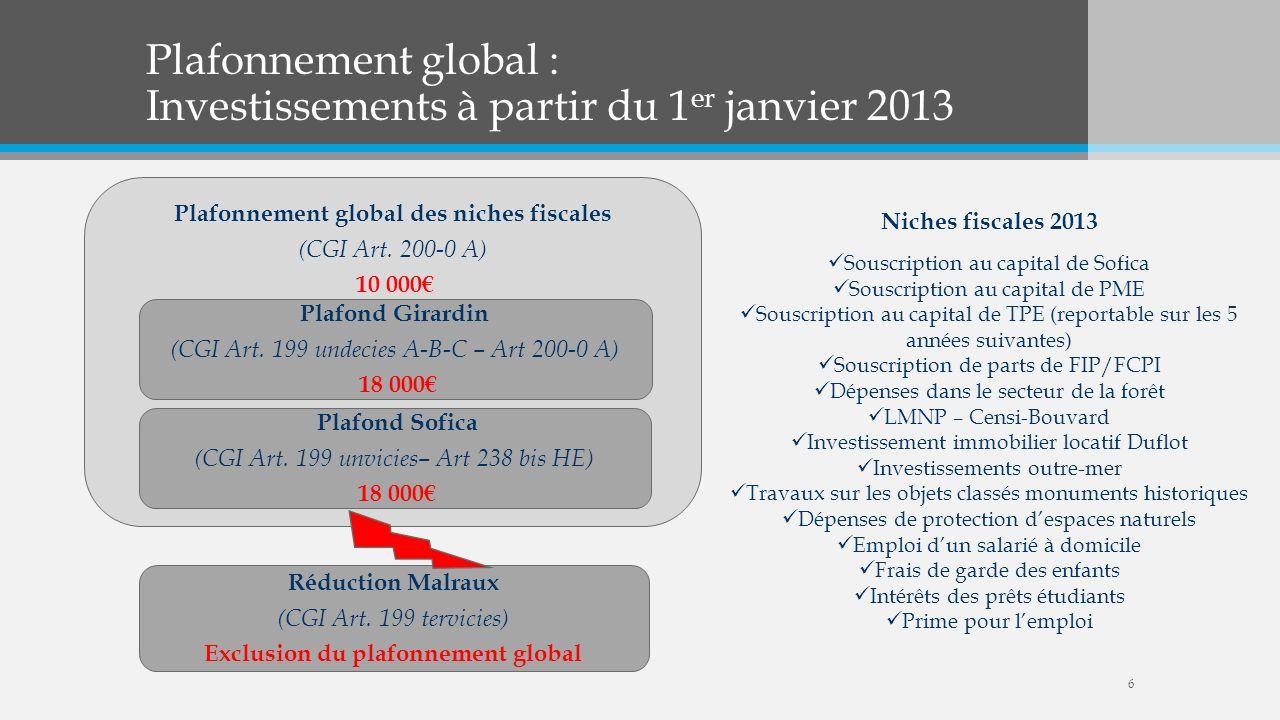 Plafonnement global : Investissements à partir du 1er janvier 2013