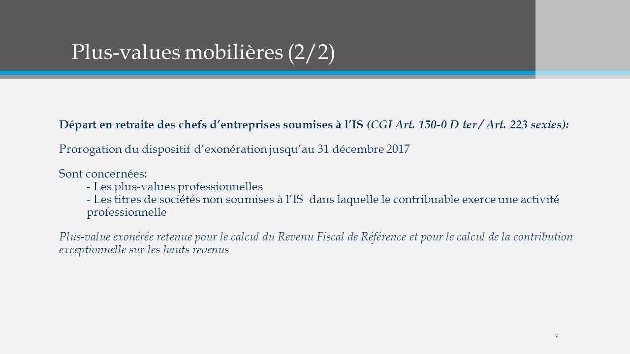 Plus-values mobilières (2/2)