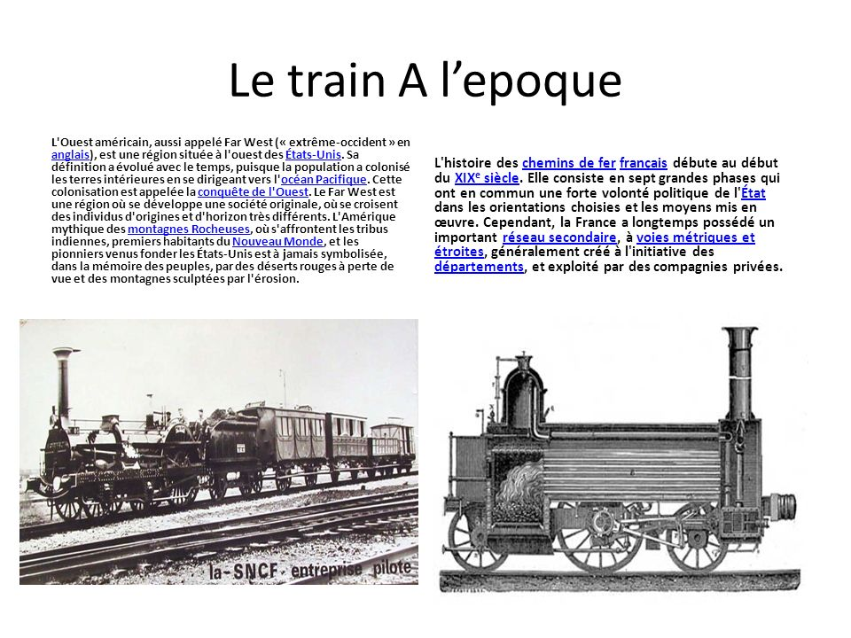 Le train A l'epoque