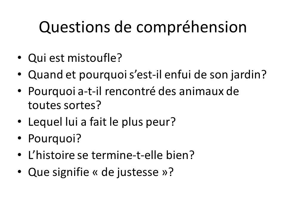Questions de compréhension
