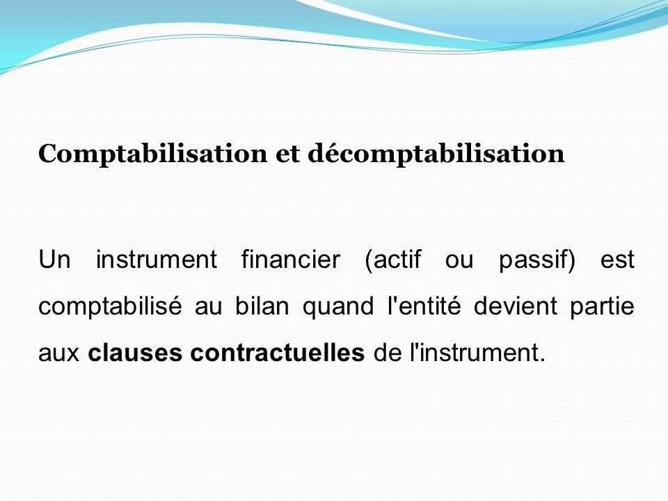 Comptabilisation et décomptabilisation Un instrument financier (actif ou passif) est comptabilisé au bilan quand l entité devient partie aux clauses contractuelles de l instrument.