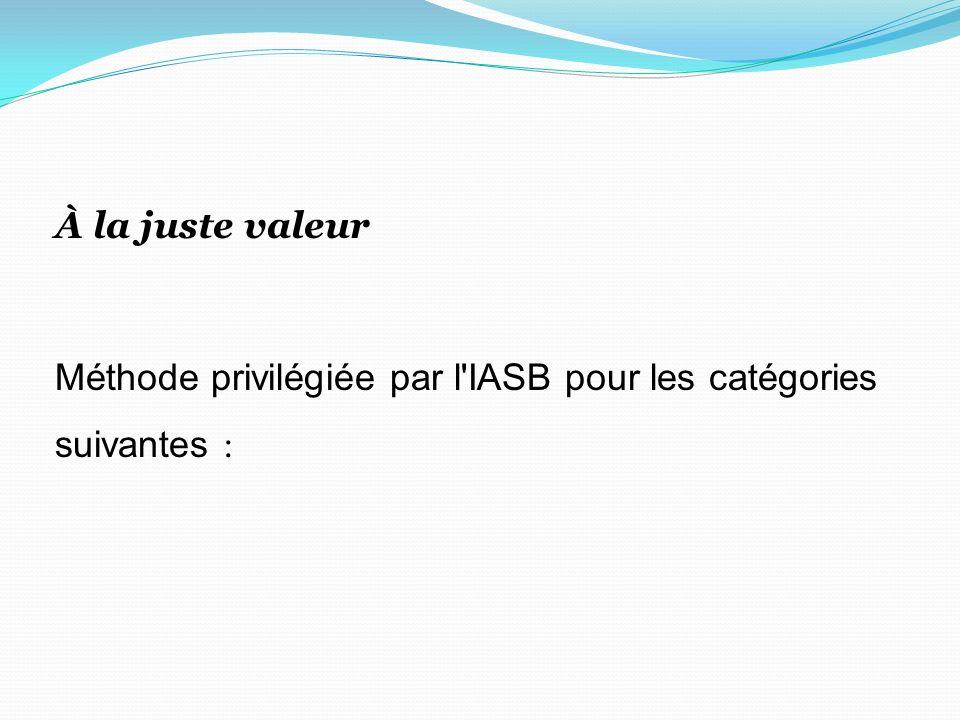 À la juste valeur Méthode privilégiée par l IASB pour les catégories suivantes :